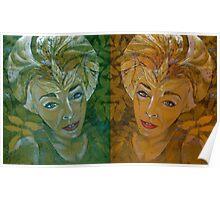 green and gold spacegirl Poster