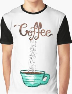 Cute Watercolor Steamy Cup of Coffee Graphic T-Shirt