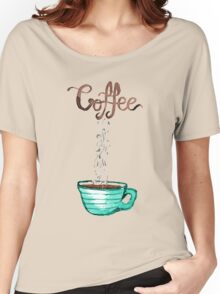 Cute Watercolor Steamy Cup of Coffee Women's Relaxed Fit T-Shirt