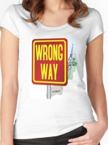 WRONG WAY! Women's Fitted Scoop T-Shirt