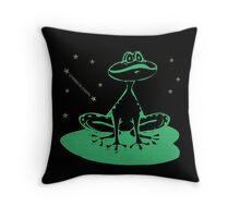 little green frog Throw Pillow