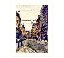 Prague street watercolor Art Print