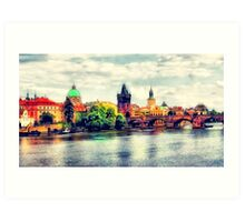 Prague bridge watercolor Art Print