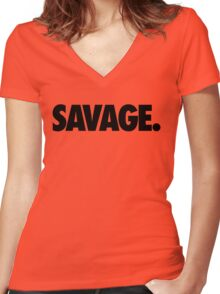 SAVAGE - (Black) Women's Fitted V-Neck T-Shirt