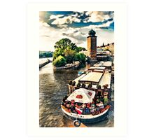 Prague Vltava river cruise watercolor Art Print