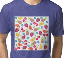 Juicy Watercolor Hand Painted Fruit Pattern Tri-blend T-Shirt