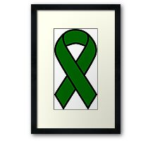 Emerald Green Liver Cancer Ribbon Framed Print