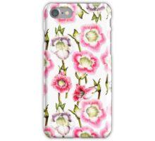 Elegant organic vintage bright pink white flowers iPhone Case/Skin