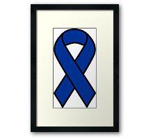 Blue Colon Cancer Ribbon Framed Print