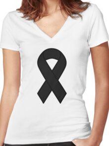 Black Melanoma Ribbon Women's Fitted V-Neck T-Shirt
