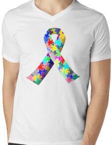 Autism Ribbon Mens V-Neck T-Shirt