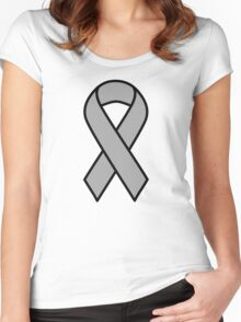 Grey Brain Cancer Ribbon Women's Fitted Scoop T-Shirt