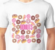 Pink Donut Typography and Watercolor Cute Donuts Unisex T-Shirt