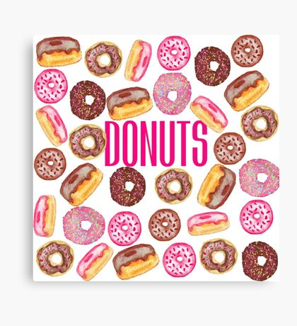 Pink Donut Typography and Watercolor Cute Donuts Canvas Print