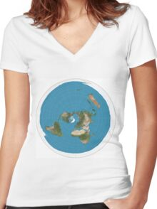 Flat earth time for change Women's Fitted V-Neck T-Shirt