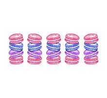 Cute Hand Painted Watercolor Macaroon Cookies Photographic Print