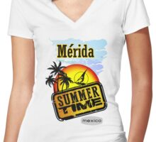 Merida, Mexico Women's Fitted V-Neck T-Shirt