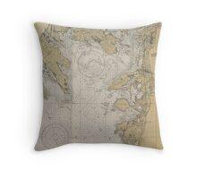 Buzzards Bay Massachusetts Nautical Map Antique Navigation Throw Pillow