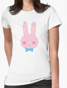 Happy Pink Bunny Womens Fitted T-Shirt