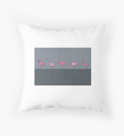 Rose flamingo on the river. Throw Pillow