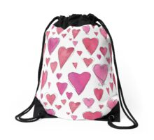 Watercolor My Heart Drawstring Bag