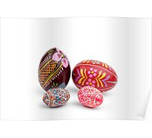 hand painted easter eggs on white table Poster