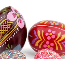hand painted easter eggs on white table Sticker