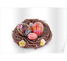 hand painted easter eggs on nest on white table Poster