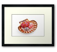 hand painted easter eggs on big shell on white table Framed Print
