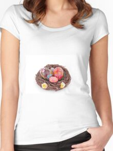 hand painted easter eggs on nest on white table Women's Fitted Scoop T-Shirt