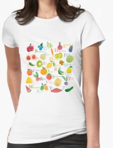 Fruit and Veggie Alphabet Womens Fitted T-Shirt