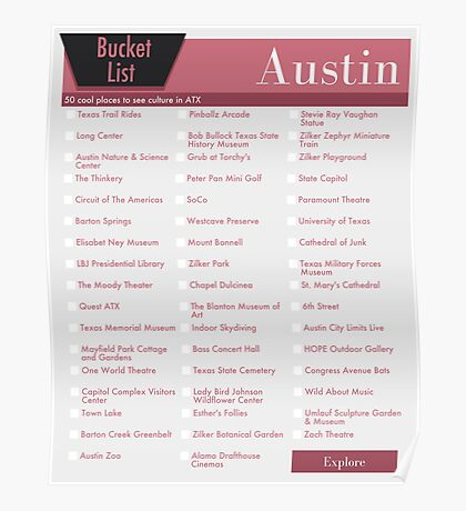 Austin Bucket List Red Pink - 50 Things to do in ATX Texas Poster