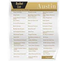 Austin Bucket List Yellow - 50 Things to do in ATX Texas Poster