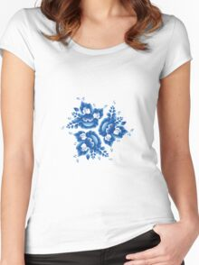 Gzhel blue flowers and leaves Women's Fitted Scoop T-Shirt