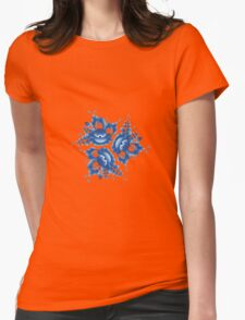 Gzhel blue flowers and leaves Womens Fitted T-Shirt