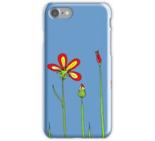Blue sky. Red flowers. iPhone Case/Skin