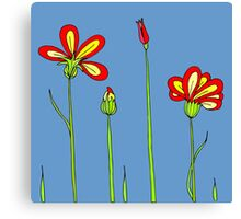 Blue sky. Red flowers. Canvas Print