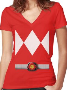 Mighty Morphin Pokémon Rangers - Red Tyrantrum - Morpher Women's Fitted V-Neck T-Shirt