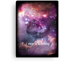 Space cat sees you sinning Canvas Print