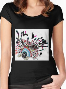 Psychedelic coral abstract flower Women's Fitted Scoop T-Shirt