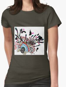 Psychedelic coral abstract flower Womens Fitted T-Shirt