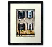 Charleston Windows And Lamp Post  Framed Print