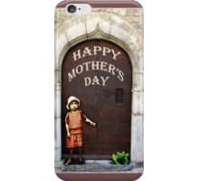Happy Mother's Day, little girl and green frog. iPhone Case/Skin