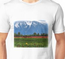 Mountain View Over A Field Of Tulips Unisex T-Shirt