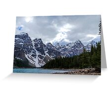 Moraine Lake Nestled In The Valley Of The Ten Peaks - Banff National Park Greeting Card