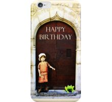 Happy Birthday, little girl and green frog iPhone Case/Skin