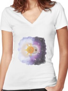Solrock & Lunatone  Women's Fitted V-Neck T-Shirt