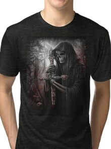 Skeleton w/ Bloody Cross Tri-blend T-Shirt