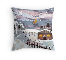 Retro christmas patchwork design nature winter picture Throw Pillow