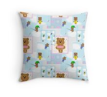 Baby pattern with teddy bears Throw Pillow